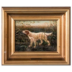 Small Antique Original Danish Oil Painting/Hunting Dog with Exceptional Detail