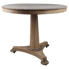 Small Antique Palladian Style Round Bleached Mahogany and Pine Table