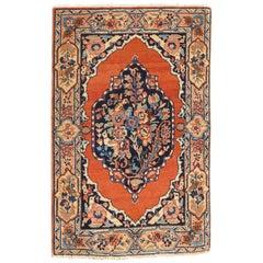 Small Antique Persian Fine Tabriz Rug with Ornate Floral Design in Burnt Orange