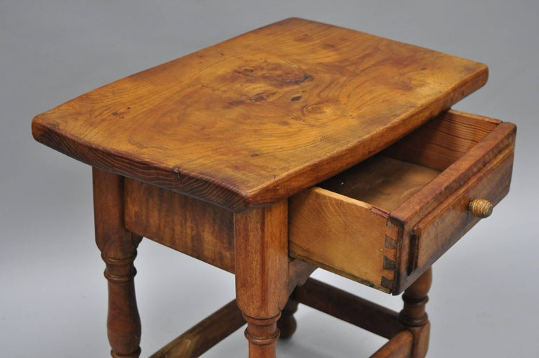 69f333477921e American Small Antique Pine Wood One Drawer Side Table Work Stand Country  Primitive For Sale