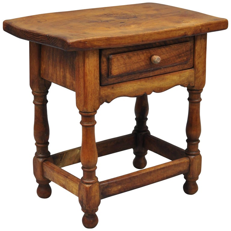 Small Antique Pine Wood One Drawer Side Table Work Stand Country Primitive For