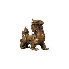 Small Antique Pixiu Figure, Oriental, Brass, Mythological, Statue, Victorian