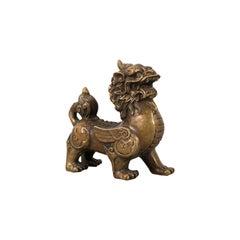 Small Antique Pixiu Statue, Oriental, Brass, Mythology, Figure, Victorian, 1900