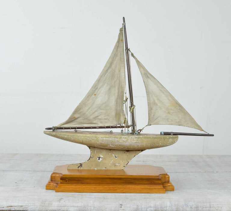 Folk Art Small Antique Pond Yacht, English, 1920s For Sale