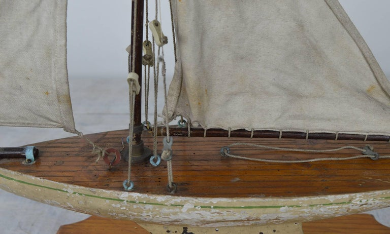 Painted Small Antique Pond Yacht, English, 1920s For Sale