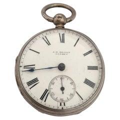 Small Antique Rare JW Benson London Maker Silver Pocket Watch