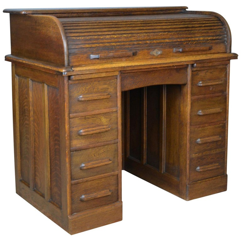 Small Antique Roll Top Desk Oak Tambour William Angus And Co Ltd London