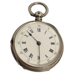 Small Antique Silver Key-Wind Fob / Pocket