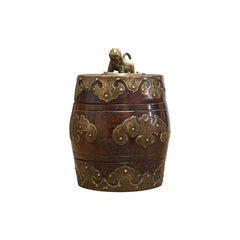 Small Antique Spice Jar, Chinese, Mahogany, Brass, Decorative Pot, Victorian