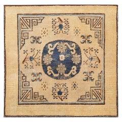 Small Antique Square Size Khotan Rug