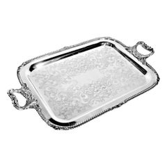 Small Antique Styled English Silver Plated Serving Tray with Ornate Engraving