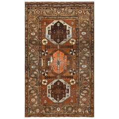 Small Antique Tribal Persian Heriz Rug. Size: 5 ft 4 in x 8 ft 9 in