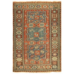 Small Antique Tribal Soumak Caucasian Rug. Size: 4 ft 4 in x 6 ft 5 in