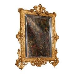 Small Antique Wall Mirror, Italian, Gilt Metal, Decorative, Victorian, C.1900