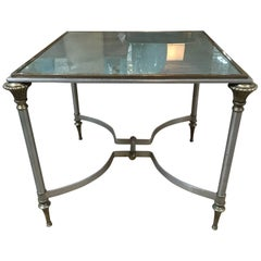 Small Antiqued Mirrored Table in the Style of Yale Burge