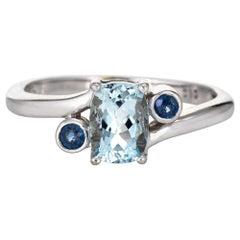 Small Aquamarine Sapphire Ring Estate 14 Karat White Gold Fine Jewelry