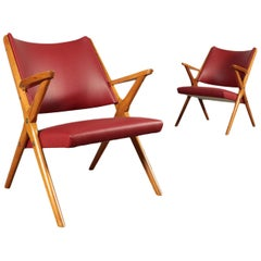 Small Armchairs Stained Beechwood Foam Leatherette, Italy, 1950s