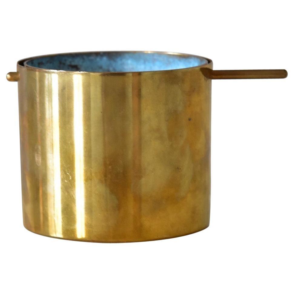 Small Arne Jacobsen Brass Ashtray by Stelton Beautiful Verdigris Green Patina