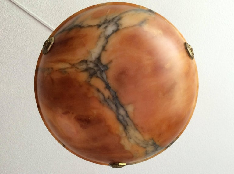 French Small Art Deco Alabaster Pendant with Gilt Hexagonal Rosettes & Matching Canopy For Sale