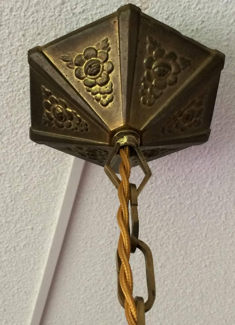 Brass Small Art Deco Alabaster Pendant with Gilt Hexagonal Rosettes & Matching Canopy For Sale