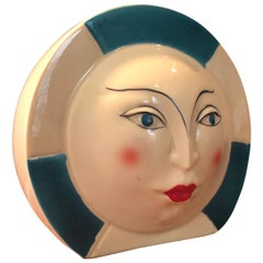 Small Art Deco Ceramic Lamp with Face