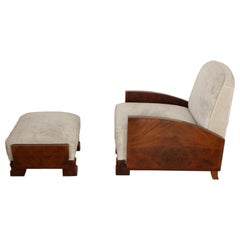 Small Art Deco Club Chair with Ottoman, Mahogany, Rosewood and Velvet, 1930s