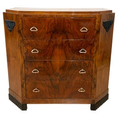 Small Art Deco Commode / Chest, Walnut Veneer and Brass, France, circa 1930