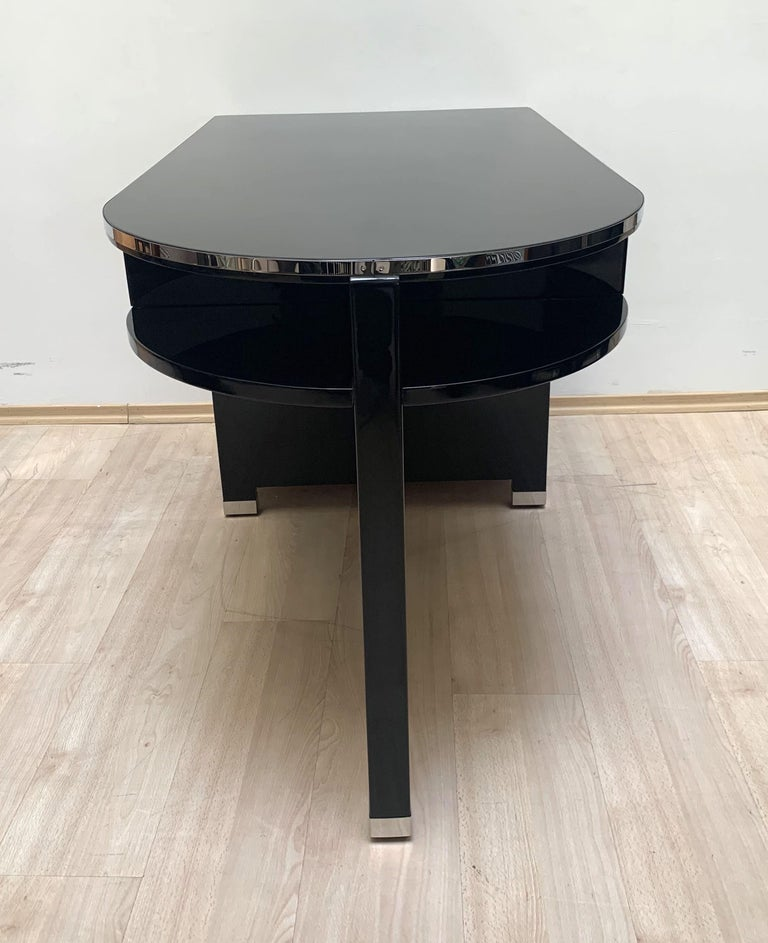 Small Art Deco Desk with Column Leg, Black Lacquer and Metal, France, circa 1930 For Sale 5