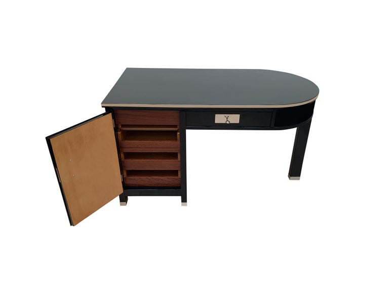 Small Art Deco Desk with Column Leg, Black Lacquer and Metal, France, circa 1930 For Sale 1