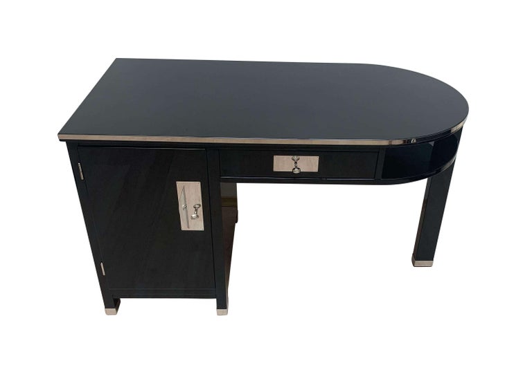 French Small Art Deco Desk with Column Leg, Black Lacquer and Metal, France, circa 1930 For Sale