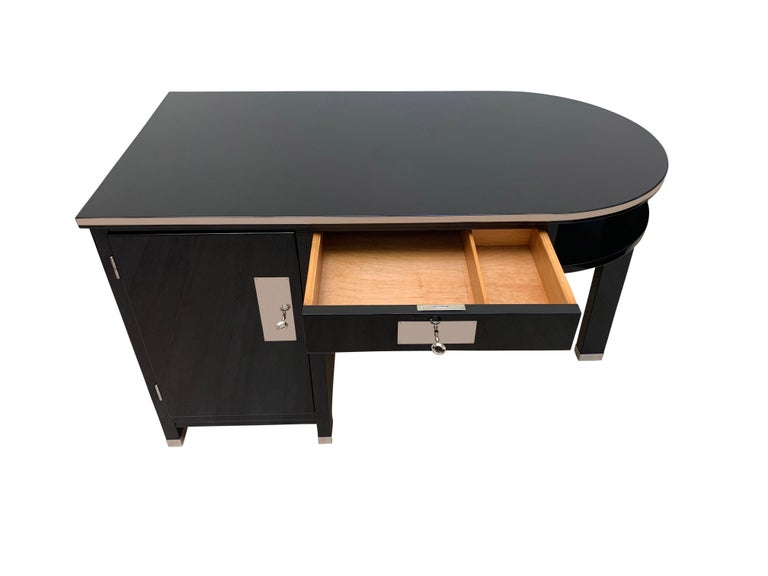 Chrome Small Art Deco Desk with Column Leg, Black Lacquer and Metal, France, circa 1930 For Sale