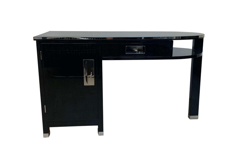 Polished Small Art Deco Desk with Column Leg, Black Lacquer and Metal, France, circa 1930 For Sale