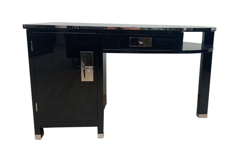 Mid-20th Century Small Art Deco Desk with Column Leg, Black Lacquer and Metal, France, circa 1930 For Sale