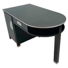 Small Art Deco Desk with Column Leg, Black Lacquer and Metal, France, circa 1930
