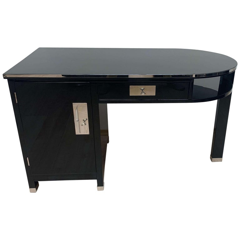 Small Art Deco Desk with Column Leg, Black Lacquer and Metal, France, circa 1930 For Sale