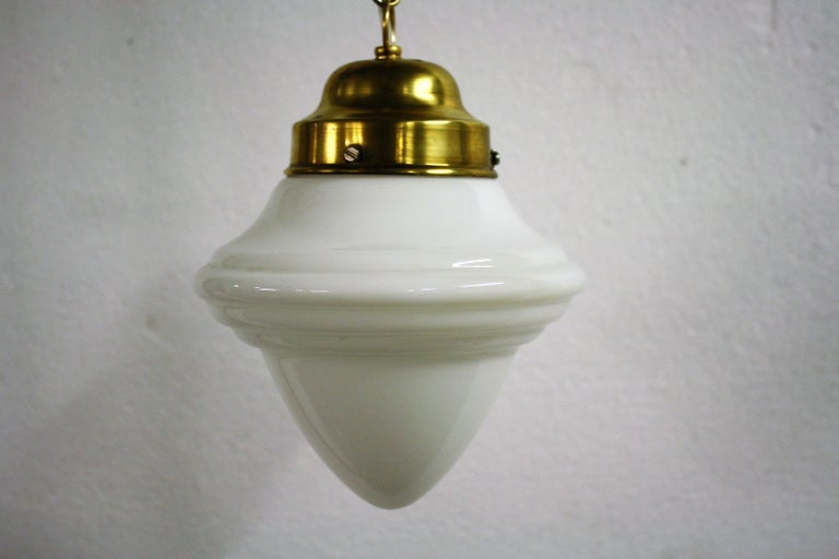 French Small Art Deco Opaline Pendant Light, 1930s, France For Sale