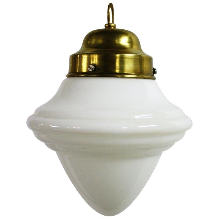 Small Art Deco Opaline Pendant Light, 1930s, France For Sale