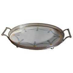 Small Art Deco Oval Porcelain Tile Serving Tray with Stylish Yellow & Gray Motif