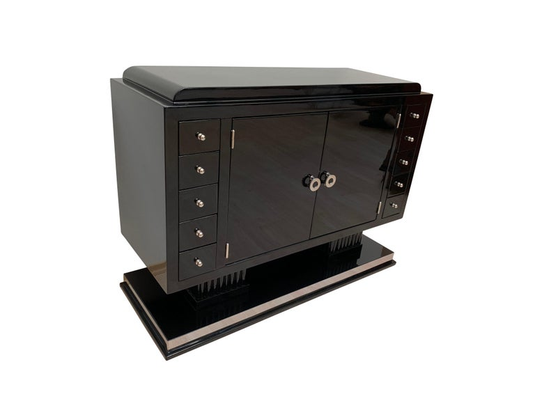 French Small Art Deco Sideboard with Drawers, Black Piano Lacquer, France, circa 1930 For Sale