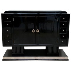 Small Art Deco Sideboard with Drawers, Black Piano Lacquer, France, circa 1930