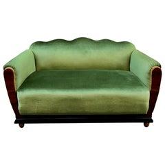 Small Art Deco Sofa Newly Upholstered with Acid Green Velvet, 1940s