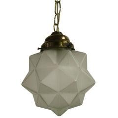 Small Art Deco Starburst Pendant Light, 1930s, France
