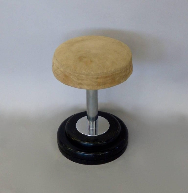 Small Art Deco stool. Possibly French. Base is lacquered mahogany with chrome shaft holding worn original Art Deco era textile.