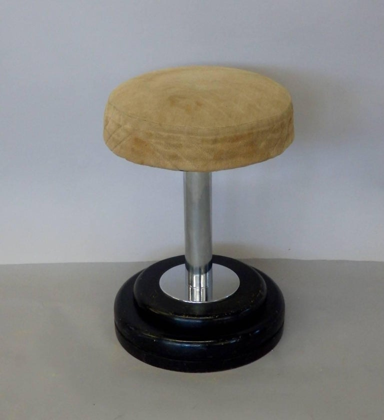 French Small Art Deco Stool in Original Fabric For Sale