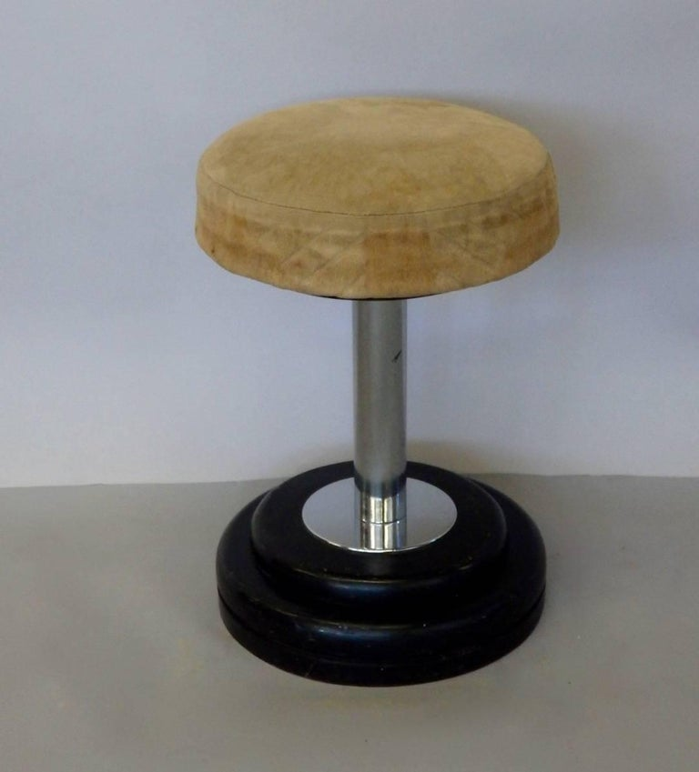 Lacquered Small Art Deco Stool in Original Fabric For Sale