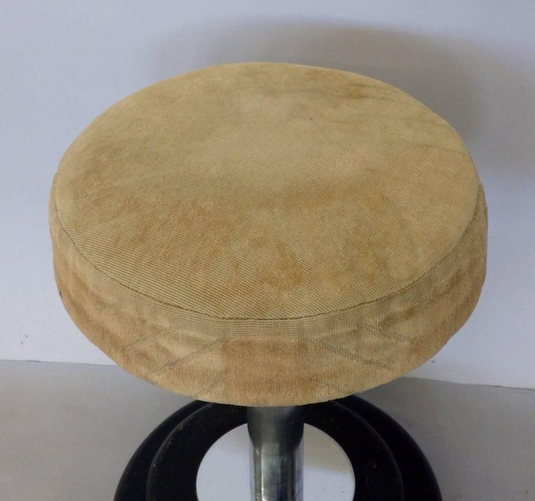 Small Art Deco Stool in Original Fabric In Good Condition For Sale In Ferndale, MI
