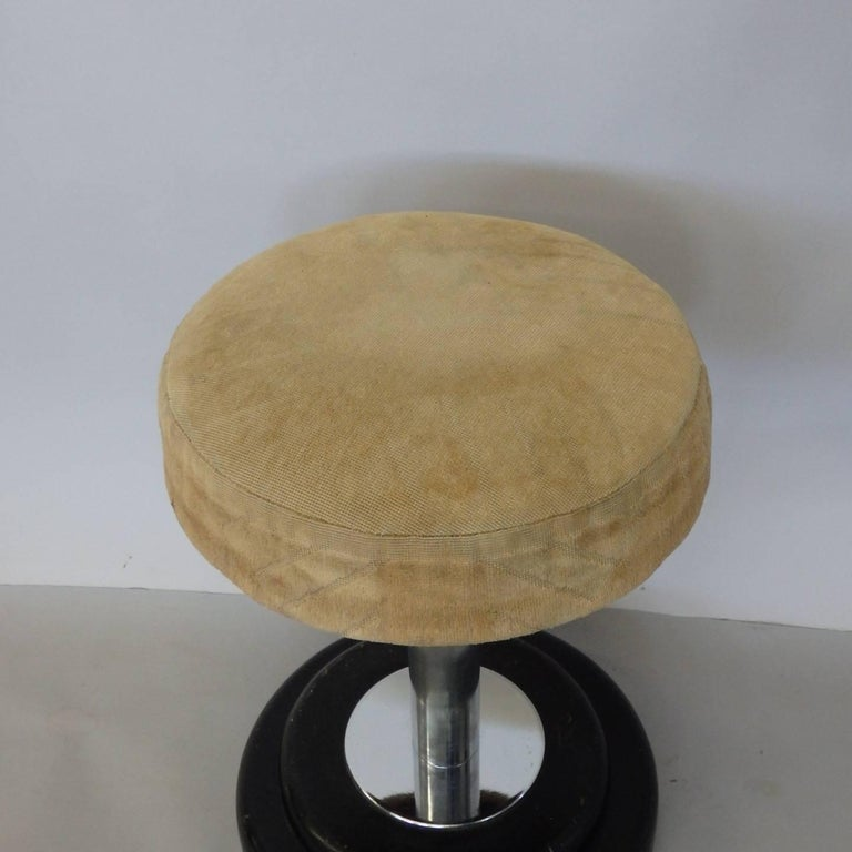 20th Century Small Art Deco Stool in Original Fabric For Sale