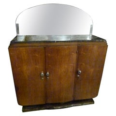 Small Art Deco Walnut and Marble French Buffet with Mirror