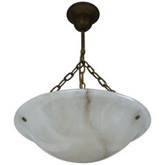 Small Art Deco White Alabaster Pendant Chandelier / Handmade 1920s Light Fixture