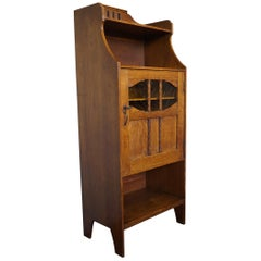Small Arts & Crafts Half Open Bookcase / Cabinet with Amber Art Glass Panels